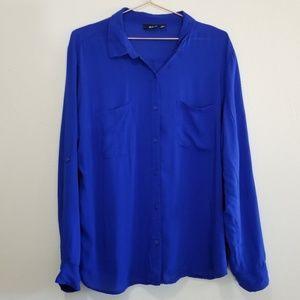 A.n.a. royal blue button up blouse